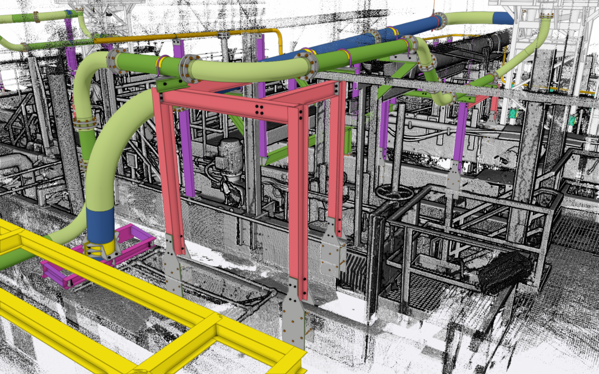 Pipe Supports interfaced with 3D scan to ensure easy installation