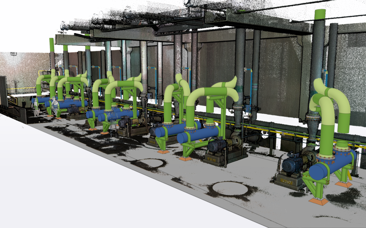 Scan and detail of a new pump stations and GRP Piping