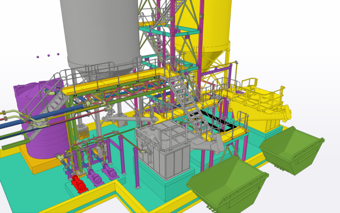Detailing of structural steel and pipe Supports for  Lime slaking Plant
