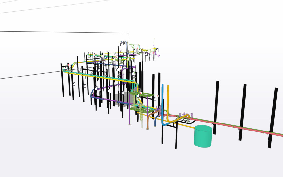Layout and detail alternate Piping Routes after 3D scanning