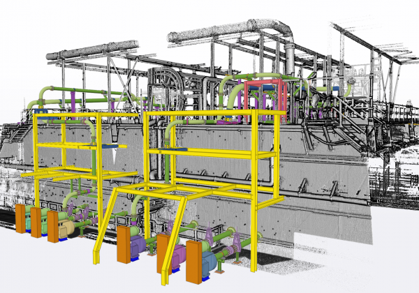 Route piping and supports for new cyclones to tie in with Existing infrastructure using 3D scan.